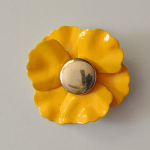 vintage yellow enamel flower brooch pin